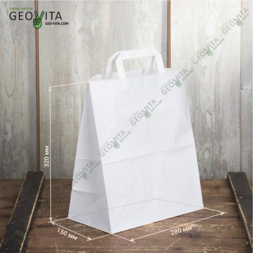 Бумажный крафт пакет с пл. ручками 280*150*320 мм.