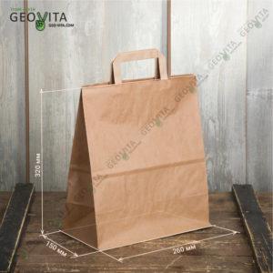 Бумажный пакет с пл. ручками 280*150*320 мм. © GEOVITA - Одноразовая посуда от производителя!