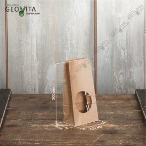 Крафт пакет с окном 100*60*200 © GEOVITA - Одноразовая посуда от производителя!