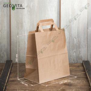Бумажный пакет с пл. ручками 240*140*280 © GEOVITA - Одноразовая посуда от производителя!