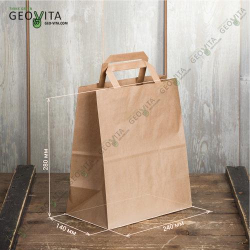 Бумажный пакет с пл. ручками 240*140*280