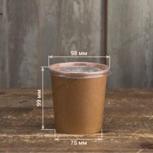 Контейнер для супа крафт с пластиковой крышкой © GEOVITA - Одноразовая посуда от производителя!