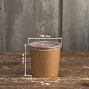 Крафт контейнер для супа с пластиковой крышкой © GEOVITA - Одноразовая посуда от производителя!
