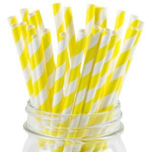 """Бумажная трубочка """"желтая полоса"""" © GEOVITA - Одноразовая посуда от производителя!"""