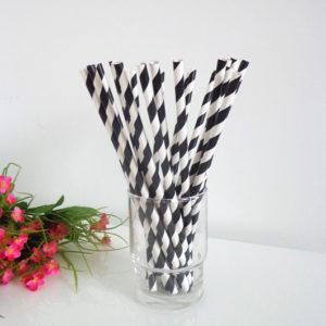 Бумажная трубочка «черная полоса» © GEOVITA - Одноразовая посуда от производителя!