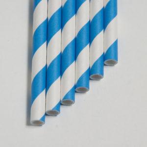 Бумажная трубочка «синяя полоса» © GEOVITA - Одноразовая посуда от производителя!