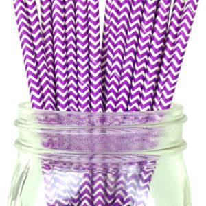 Бумажная трубочка «фиолетовый шеврон» © GEOVITA - Одноразовая посуда от производителя!