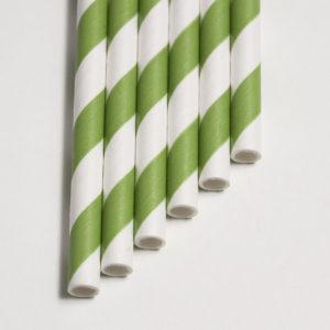 Бумажная трубочка «зеленая полоса» © GEOVITA - Одноразовая посуда от производителя!