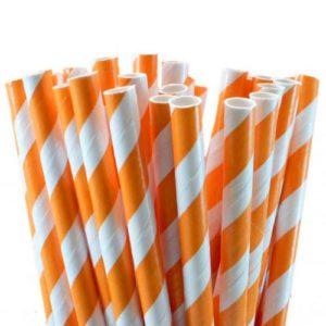 Бумажная трубочка «оранжевая полоса» © GEOVITA - Одноразовая посуда от производителя!