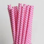 Бумажная трубочка «розовый шеврон»