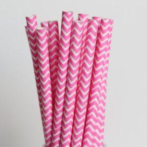 Бумажная трубочка «розовый шеврон» © GEOVITA - Одноразовая посуда от производителя!