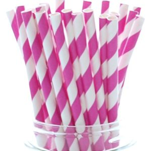 Бумажная трубочка «розовая полоса» © GEOVITA - Одноразовая посуда от производителя!