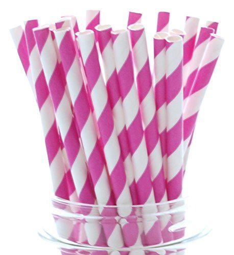 Бумажная трубочка «розовая полоса»