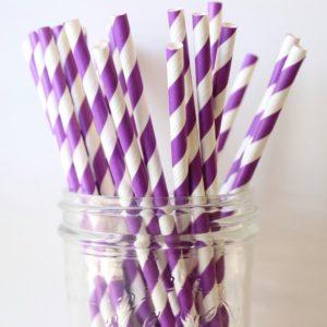 Бумажная трубочка «фиолетовая полоса» © GEOVITA - Одноразовая посуда от производителя!