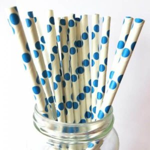 Бумажная трубочка «в голубой горошек» © GEOVITA - Одноразовая посуда от производителя!