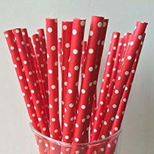 Биоразлагаемая трубочка красная в белый горошек © GEOVITA - Одноразовая посуда от производителя!