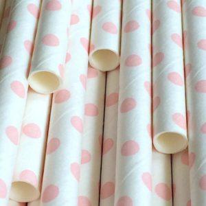 Биоразлагаемая трубочка в розовый горошек © GEOVITA - Одноразовая посуда от производителя!