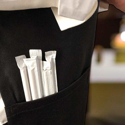 Черная бумажная трубочка в индивидуальной упаковке