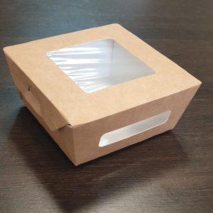 Ланч бокс с крышкой 2 окна 400 мл. © GEOVITA - Одноразовая посуда от производителя!
