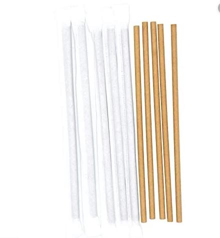 Крафт соломинка из бумаги в индивидуальной упаковке