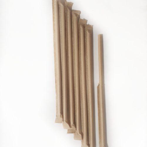 Бумажная трубочка в инд. упаковке цвета крафт