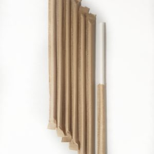 Белая бумажная трубочка в инд. упаковке крафт © GEOVITA - Одноразовая посуда от производителя!