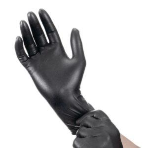 Нитриловые перчатки черные © GEOVITA - Одноразовая посуда от производителя!