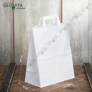 Пакет белый бумажный с ручками © GEOVITA - Одноразовая посуда от производителя!