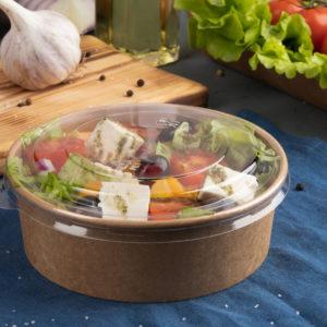 Крафт контейнер  круглыйс прозрачной крышкой, 750 (820) мл © GEOVITA - Одноразовая посуда от производителя!